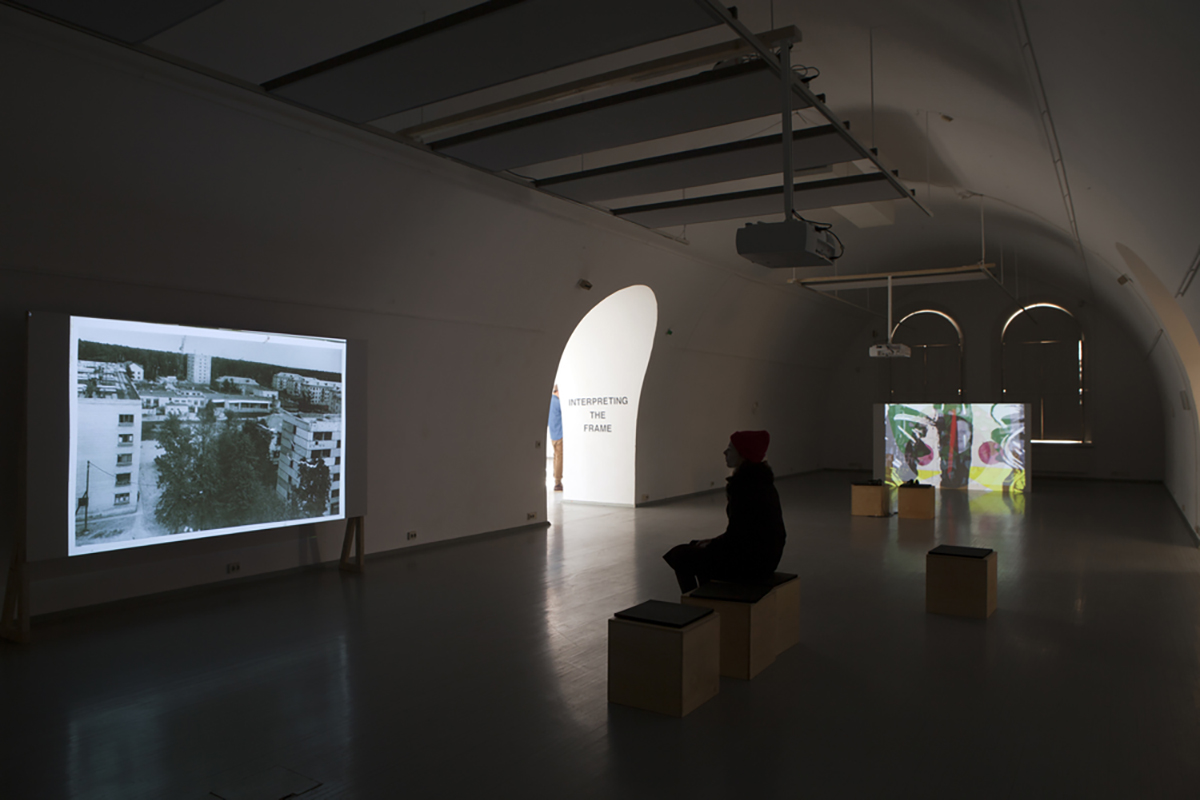 Exhibition view. Tatiana Istomina, 'Narrative machine: How we lived then' (2014), Zeljka Blaksic, 'Clearing Agent' (2015)
