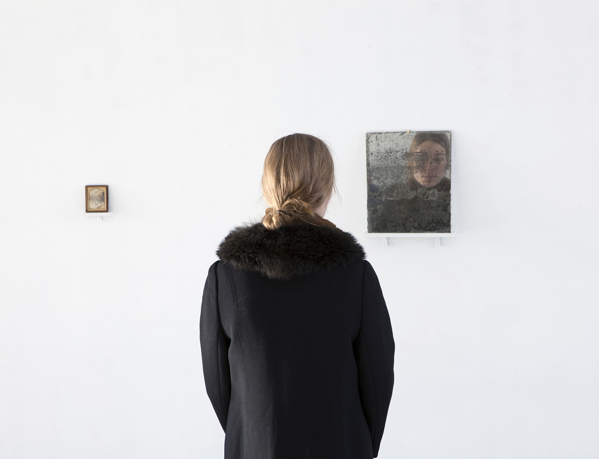 Tanja Koljonen, 'What We See We Remember I' (2015), Daguerrotype, late 1800's, United States, 9,7 x 8cm, 'What We See We Remember II' (2015), mirror 33 x 27cm