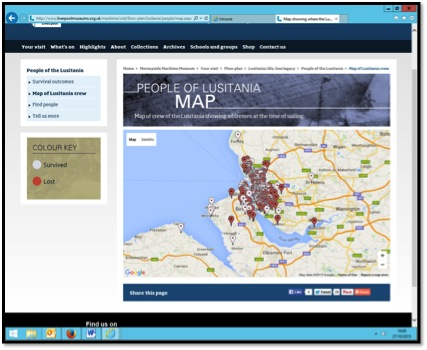 Image  6. An example how information is mapped.  Screenshot of the People of Lusitania website.